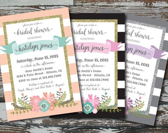 Stripes, Glitter and Flowers Wedding Shower Invitation - Custom PRINTABLE