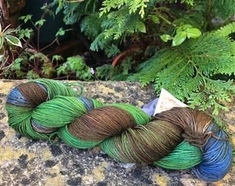 """100grms hand painted merino/yak/nylon  yarn """" tree tops"""""""
