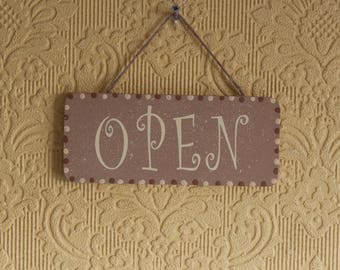 Lovely Decorative Hand crafted Wooden  door sign OPEN / CLOSED (Brown and Cream)