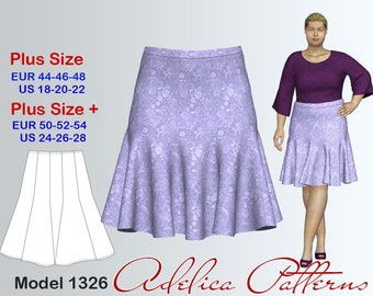 Plus size 10-Gore Flared Knee Length Skirt Sewing Pattern Women's sizes 18-28, PDF Instant Download Sewing Pattern, Skirt Sewing Pattern