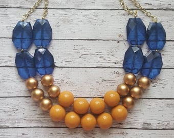 FREE EARRINGS Navy, Mustard, and Gold Chunky Statement Bib Necklace