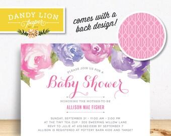 Pink + Purple Peonies Baby Shower Digital Invitation - DIY Printable