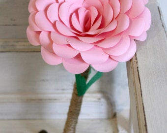 Single Pink Paper Rose with Twine Stem and Green Leaves  - Paper Flowers - Small Bridesmaid Bouquet - Flower Girl Bouquet