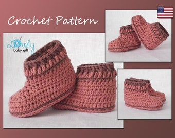 Baby Shoes Crochet Pattern,  Crochet Bootie Pattern, Instant Download, CP-204