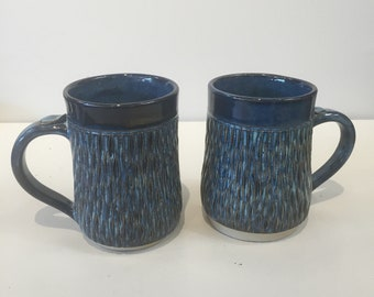Blue carved mug