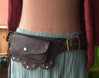Leather Belt Bag | Festival Utility Belt | Hip Bag | iPhone 8 Pocket Belt  | Travel Belt Pouch | Steampunk Festival Clothing - The Lotus