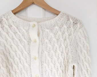 Vintage White Cable Knit Cardigan Sweater