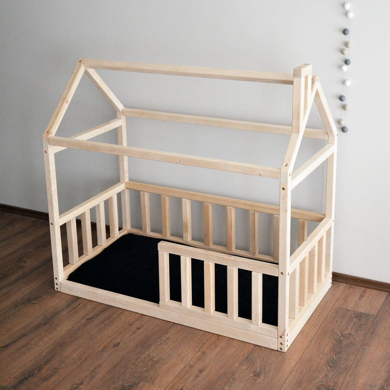 House bed frame toddler bed montessori baby bed crib size for Frame house bed