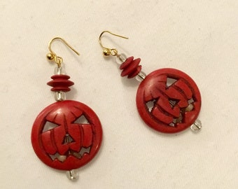 Red Pumpkin Dangle Earrings