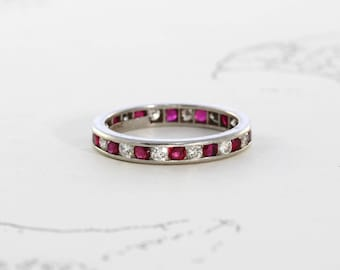 Vintage Tiffany & Co. Platinum Ruby and Diamond Eternity Band, Art Deco Style Wedding Stacking Ring