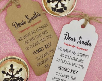 Santa Magic Key Poem - Christmas Card/ Gift Tag Xmas Party Present, Tree Tie Wrap