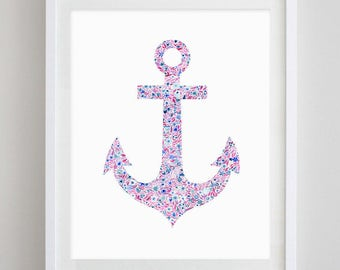 Anchor Floral Watercolor Art Print - Delta Gamma and Alpha Sigma Tau