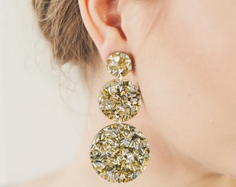 Lush Triple Drops -  Laser Cut Drop Earrings - Now Available in Lush Silver and in Lush Gold