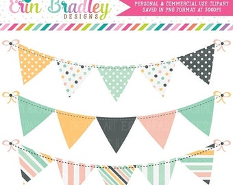 80% OFF SALE Beach Days Bunting Clipart Set Digital Banner Flag Clip Art Graphics Personal & Commercial Use