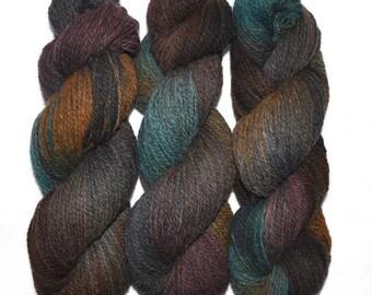 Hand dyed yarn - Alpaca / American wool yarn, Worsted weight, 240 yards - Tiwanaku