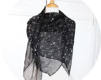 Black silk scarf has white stars, large black silk scarf, chiffon scarf, scarf stars