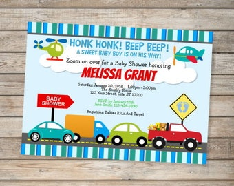 Transportation Cars Trucks Baby Shower Invitations Planes Cars Transport Invitations For Baby Boy