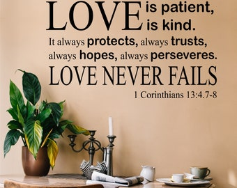 Love is Patient Quote, Vinyl Wall Lettering, Vinyl Wall Decals, Vinyl Letters, Vinyl Lettering, Wall Quotes, Religious Decal, Family Decal