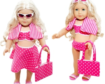 6 Piece Swimsuit Set for American Girl Dolls: Pretty Pink Polka Dot Swimsuit Set
