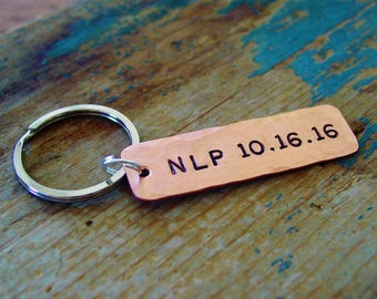 Monogram Keychain, Hammered Copper, Date Keychain, Personalized, Graduation Gift, Custom Keychain, Gift for Men, Teen Gift, New Driver