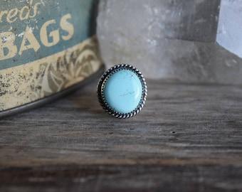 Royston Turquoise Ring, Metalsmith Jewelry, Unique Turquoise Ring, Artisan Jewelry, Genuine Turquoise Jewelry, Small Size Turquoise Ring