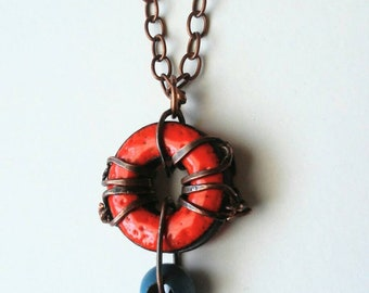 Orange Crush Pendant: Enamel on Steel with Copper Wire and Wood