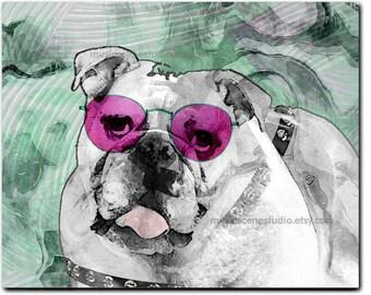 Bulldog Art, Bulldog Print, Bulldog, Bulldog Painting, Bulldog Gifts, Dog Sunglasses, Dog Pop Art, Bulldogs, Bulldog Dog Art, Bulldog Pop