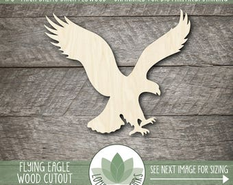 Wood Flying Eagle Cutout, Laser Cut Wooden Eagle, Unfished Wood Shapes For DIY Projects, Many Size Options Availalbe, Blank Wood Shapes