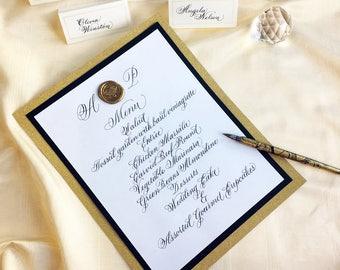 Custom Calligraphy Event Menus/Elegant Wedding menus/Bar Menu