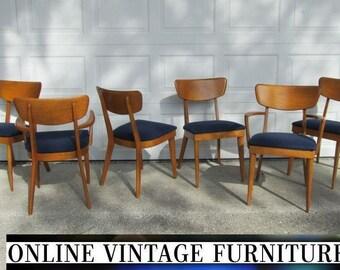 6 Heywood Wakefield 1950s Chairs Vintage Mid Century Midcentury Modern Dining Room Chair