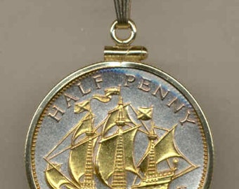 "Necklace - Gorgeous 2-Toned ""Gold on Silver"" British ""Sailing ship"",  Coin Necklaces"