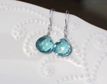 March Birthstone, Natural Aquamarine Earrings, Aquamarine Earrings Dangle, Natural Aquamarine Jewelry, Gifts For Her