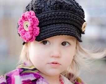Girl's Newsboy Hat, Crochet Newsboy Hat for Girls, Crochet Newsgirl Hat, Crochet Hat for Girls, Hat for Toddler Girls, Toddler Hat for Girls