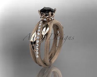 Unique engagement set, 14kt  rose gold diamond leaf and vine wedding ring,engagement ring with black diamond center stone, ADLR329