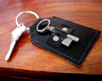 Black Leather Keychain Key Fob with Antique Key - Doorkeeper