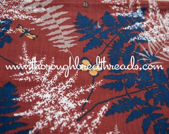 Leaves and Butterflies - Vintage Fabric New Old Stock Great Graphics