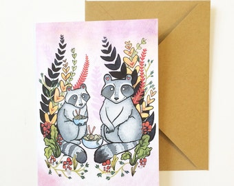 Raccoons and Ramen Noodles Art card- Foodie card - Ramen Raccoons  greeting card  - from original watercolor painting