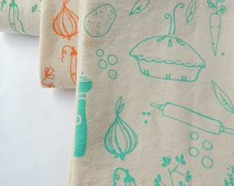 Kitchen Towel, Hand Printed, Veggie Pot Pie, Natural Cotton, Choose Your Color