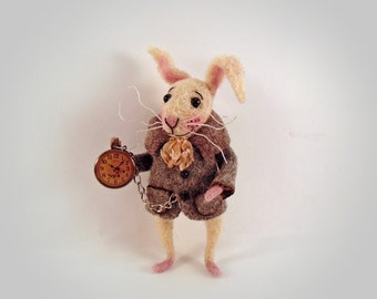 White Rabbit, Alice In Wonderland, Needle Felted Bunny, Rabbit from Alice, Felt Rabbit, Art Doll, Characters from fairy tales
