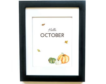 Hello October, Printable Decor, Autumn Printable, Autumn Quote Printable, Autumn Art Print, Welcome printable, Watercolor Pumpkins