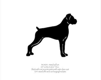 "Boxer metal wall art - 24"" wide - black with rust accents patina - metal dog silhouette profile painted rusted steel"