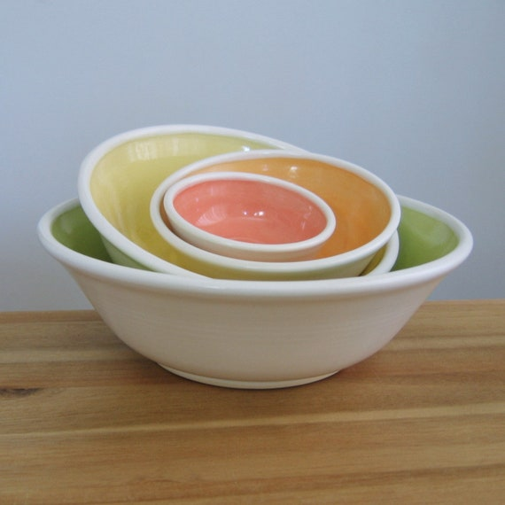 Ceramic Nesting Bowls Large Set of Stacking Pottery Bowls in