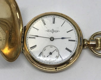 Antique Illinois Pocket Watch Hunter Case Stem Wind Size 6  Runs #64