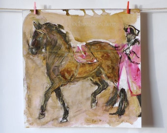 Original painting Horse - long reins  andalusian horse - Sketch