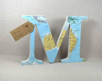 Map Letters perfect Father's Day Gift 20cm height + Free Gift Wrapping! Choose your location
