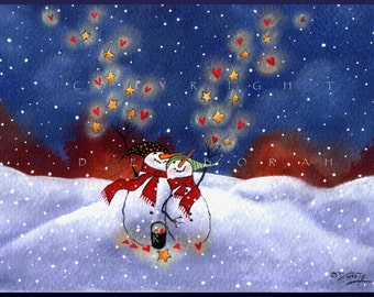 Blessings And Love Are Coming Your Way  Winter Snowman Hearts Stars Love PRINT by Deborah Gregg
