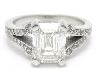 2.04CTW emerald cut antique style split shank diamond engagement ring E22