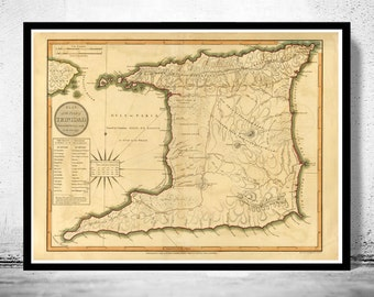 Old Map of Trinidad Tobago 1800