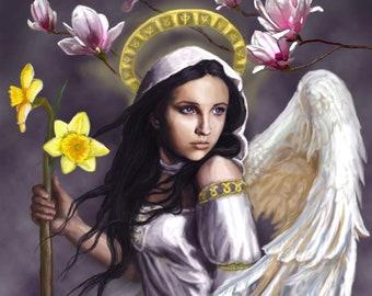 "Spring Angel Title: ""Magnolia"" Digital Painting Fantasy Photo Print by Dara Trahan"