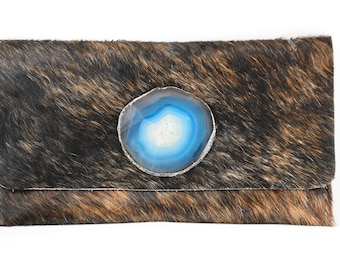 handmade cowhide leather clutch w/ teal geode crystal